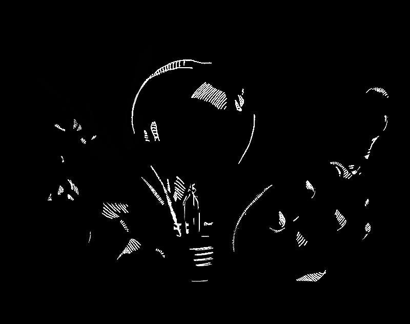 Illustrated hands holding a blinking lightbulb